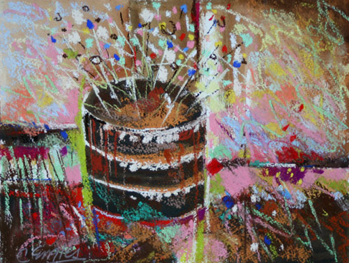 Daily Painters Abstract Gallery Chocolate Birthday Cake Three by