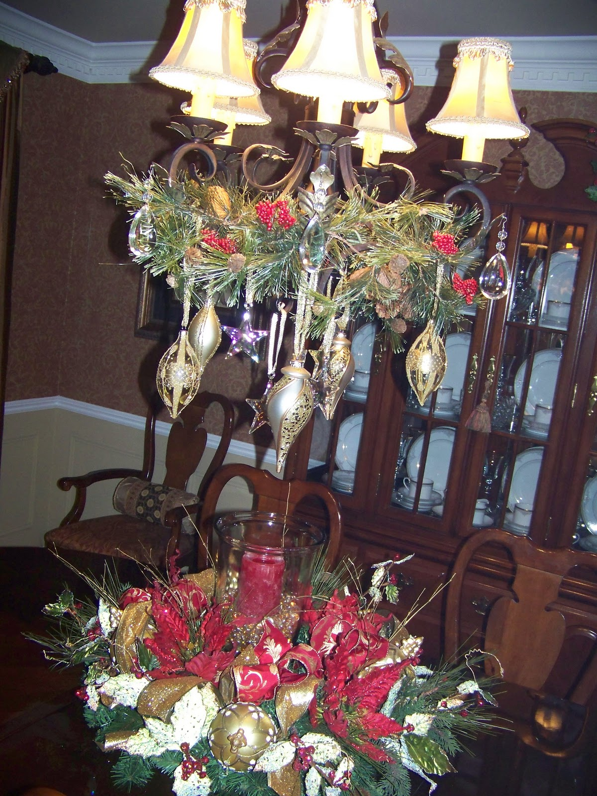 Creations from my heart tour my christmas decorations for Hanging ornaments from chandelier