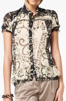 Silk Chiffon Lace Print Blouse