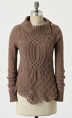 Crochet Hem Cable Knit Sweater