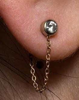 Diamond Studs With Chain Backs