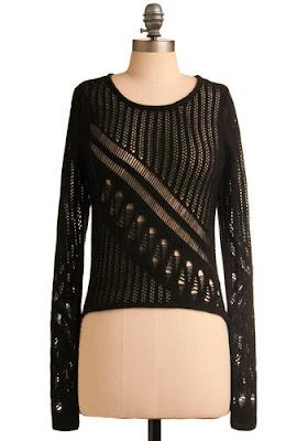 Black Open Knit Sweater