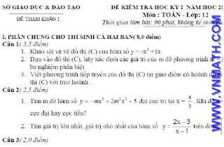 De thi HK I mon Toan lop 12