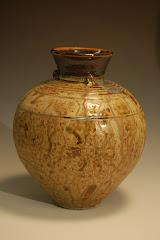 Vase with Slip & Wood Ash Glaze