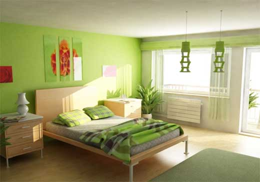 Luxury Home Interior Design Green Color Bedrooms Design