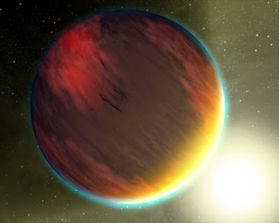 This artist's concept shows a cloudy Jupiter-like planet that orbits very close to its fiery hot star