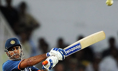 Mahendra Singh Dhoni plays a shot during India's second one-day international against Australia