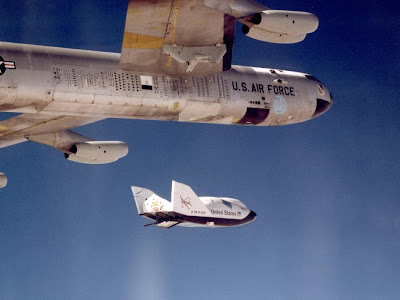 X-38 Ship #2 in free flight after release from B-52 Mothership