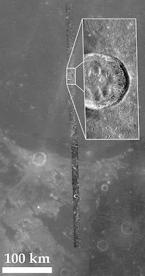 Radar Strip Showing Crater Bessel
