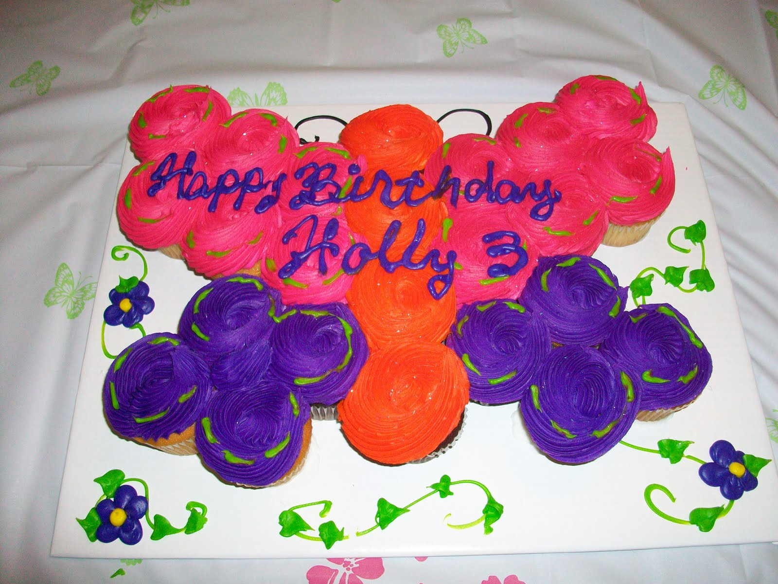 Butterfly And Spring Flower Cake Picture