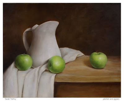 still life oil painting of pitcher and apples by Sarah Trefny