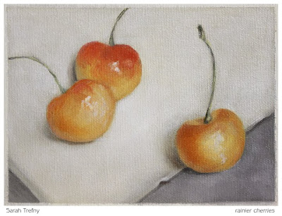 still life oil painting of rainier cherries by Sarah Trefny