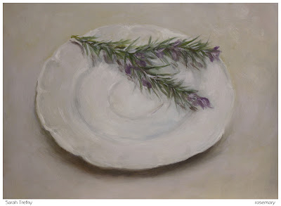still life oil painting of rosemary sprig on plate by Sarah Trefny