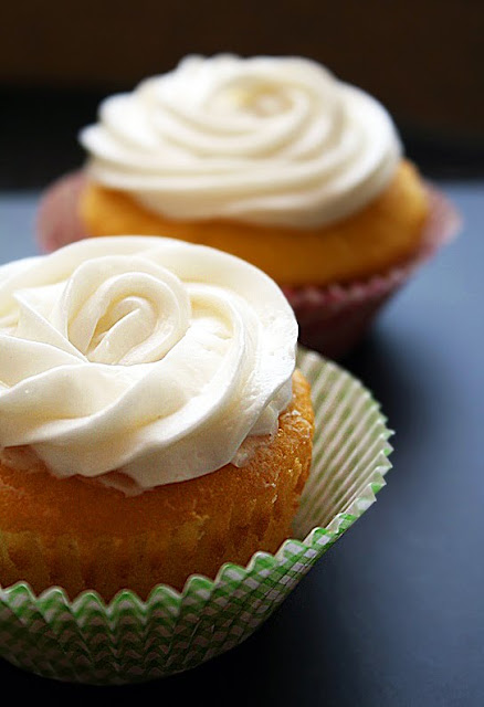 Low-Fat Vanilla Cupcakes and Cream Cheese Icing by The Comfort of ...