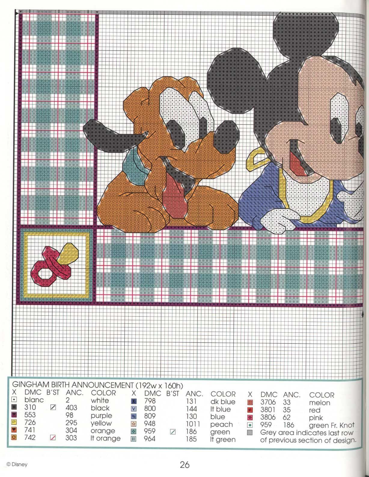 Lindos Gráficos Baby Disney em Ponto Cruz