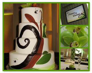 Motif, wedding cake, table cards, Lake Mary Events Center wedding; A Flair for Affairs (2008)