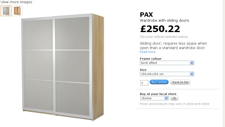 IKEA PAX Wardrobe Sliding Door Assembly 909 x 515