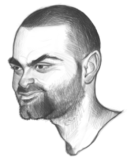 NBA Player Tony Parker Art Drawing Sketch Eva