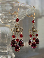 garnet gold flower earrings