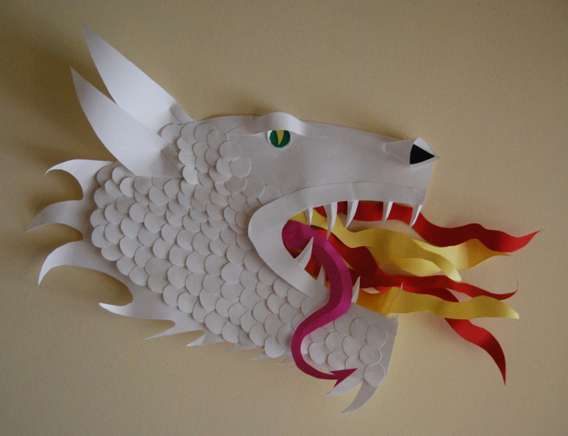 chinese new year dragon face. My Mom made a Chinese dragon as a paper sculpture :)