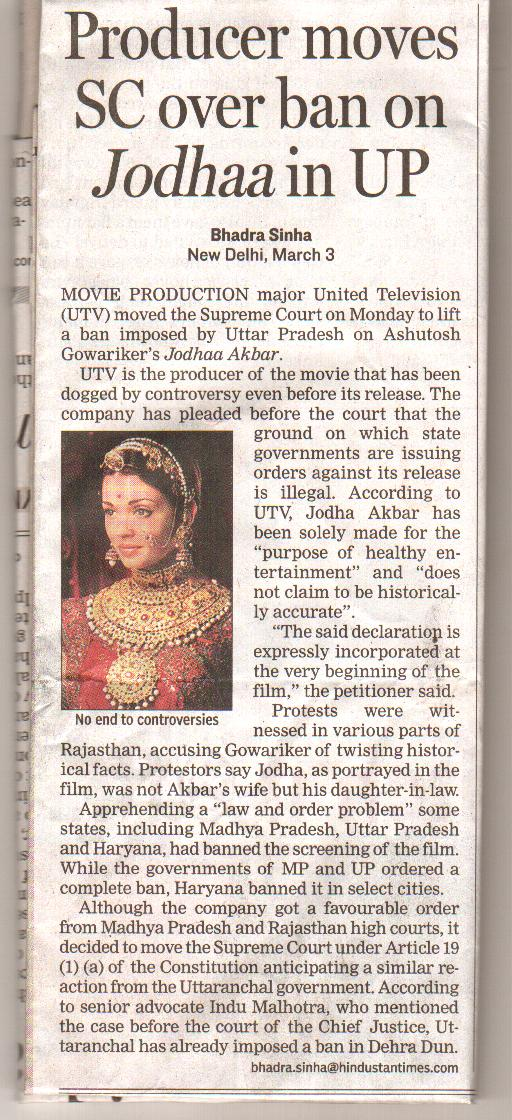 JODHA AKBAR MATTER IN SUPREME COURT