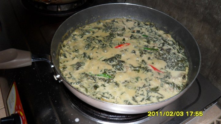 how to cook laing with fresh gabi leaves