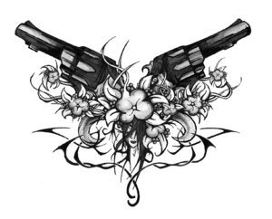gun tattoos on chest