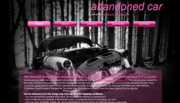 Free Abondoned Car Pink CSS Website Template