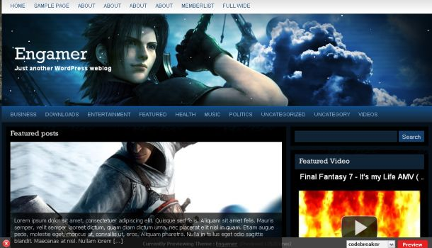 Dark Gaming World Website Wordpress Theme