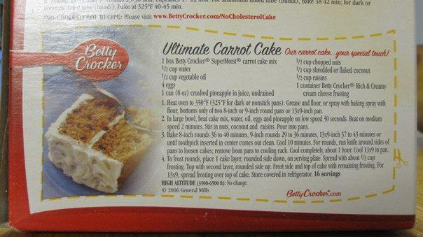 Betty crocker carrot cake mix recipes
