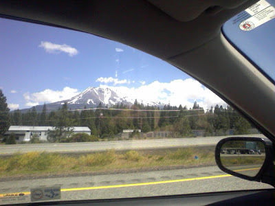 Mt. Shasta, through the windshield