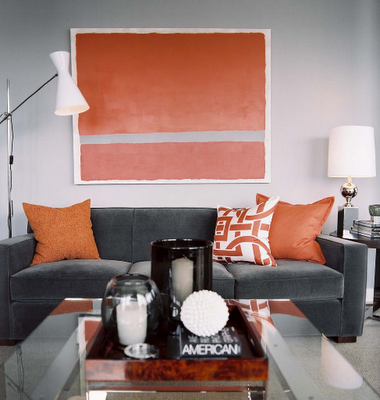 Beau Note The Coral/gray Artwork With The Gray Sofa And Then Coral Toss Pillows.  It Doesnu0027t Look Like The Room Came Out Of A Bag, But It Does Look Like ...