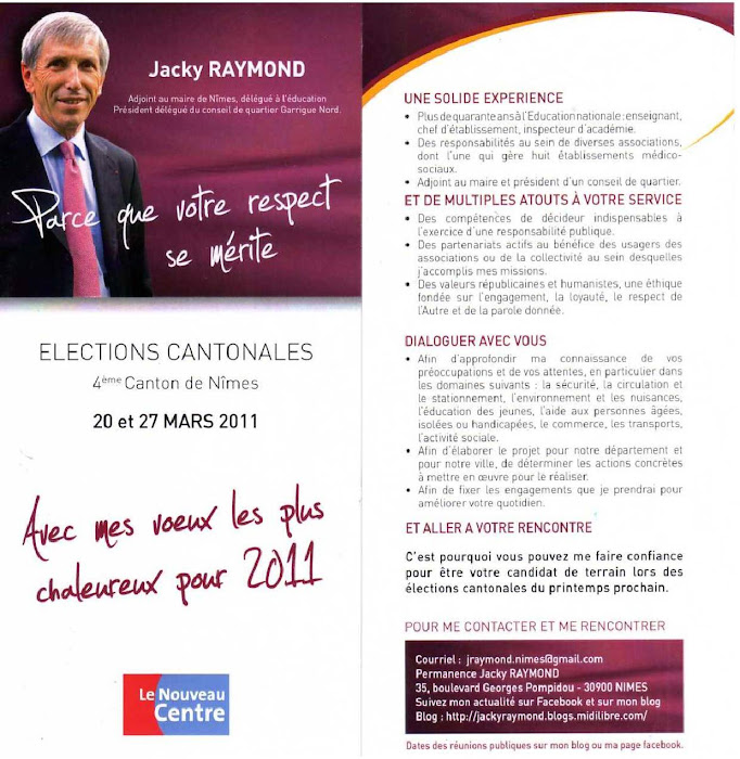 Jacky RAYMOND candidat  élections cantonales  4ème canton Nîmes