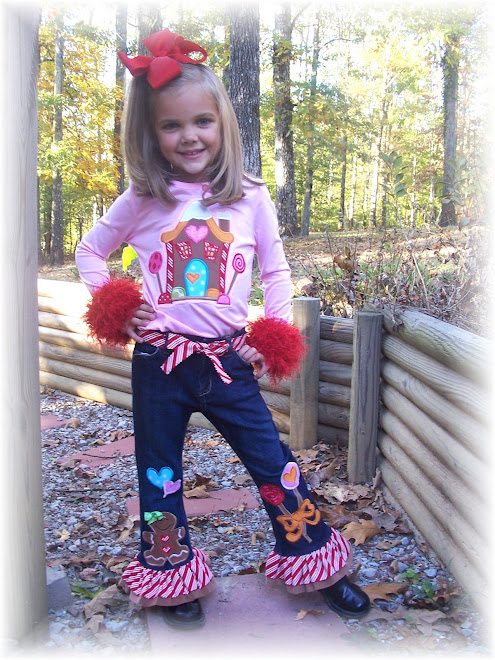 Gingerbread Applique Tee and Ruffle Jeans Set $125