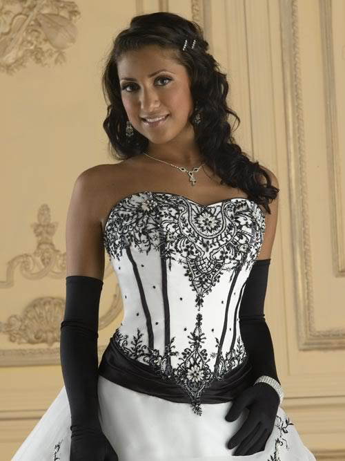 Black and white wedding dresses is our choice of the month for White wedding dress with black accents