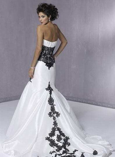 white wedding dress with black lace. white wedding dress with