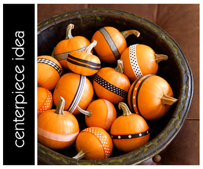 Use fall ribbon to decorate mini pumpkins in bowl