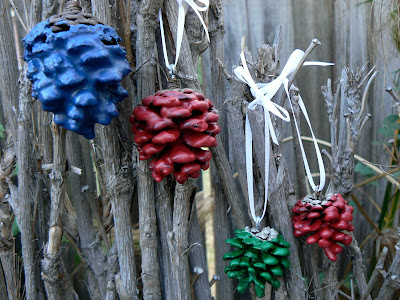 recycling: wax pine cone christmas decorations.