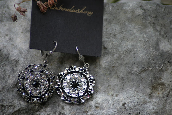 Black and Crystal Disc Earrings