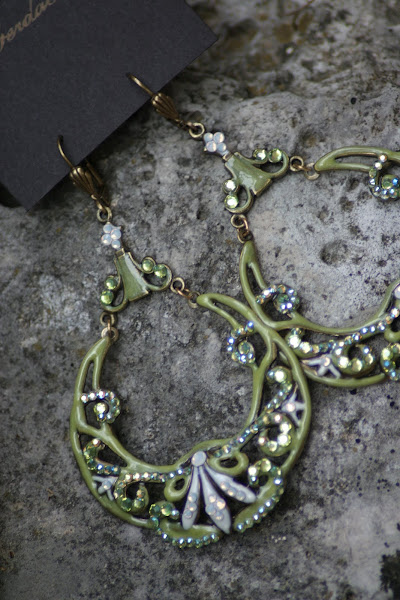 Amazing large Green Enamel and Crystal Earrings