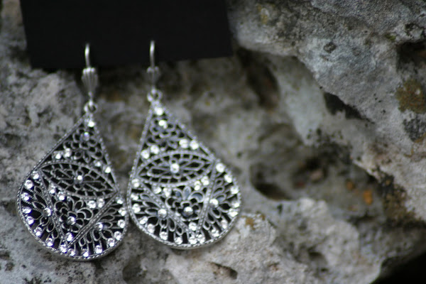 Black and Crystal Tear Drop