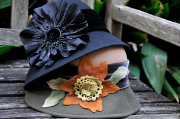 Black felt hat with silk flower and velvet trim, 3 tone felt hat with felted accents