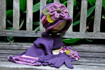 Hat, scarf and gloves Set $58