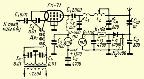 GK-71 in a Grounded-Grid Amplifier. Blueprint.
