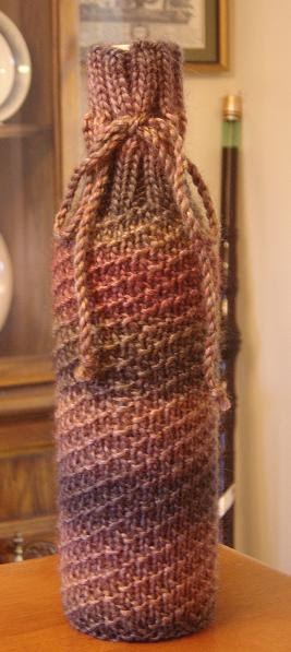 Wine Bottle Cozy Knitting Pattern : Taras Knits: Swirled Wine Bottle Cozy