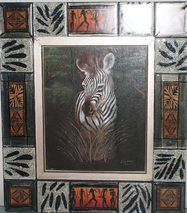 cuadro zebra etnico destellos