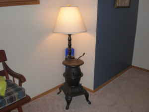 Black Pot Belly Stove Lamp   $35
