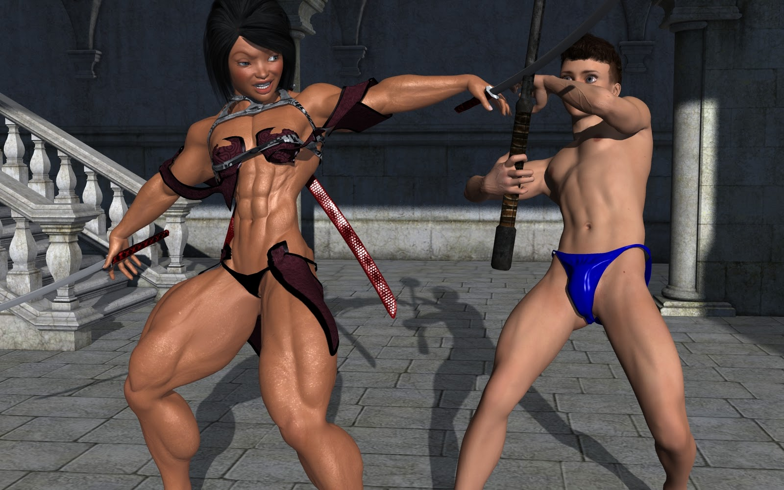 3d muscle girl erotic image