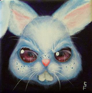 Angry Bunny acrylic painting