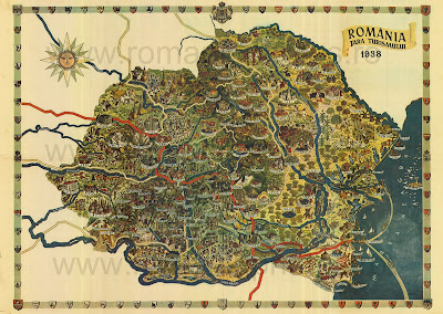Romanian Tourism Map from 1938
